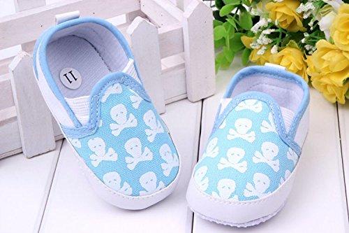 YICHUN Prewalker zapatos de bebé suave ocio zapatos calavera zapatos de cuna de bebé zapatos de suela azul azul Talla:Sole Length:12cm/4.7 inches azul