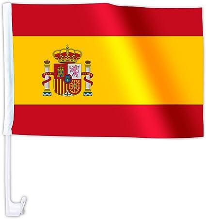 2 X Autofahne Autoflagge 45 X 30 Spanien Auto Fahne Fahnen Flagge Flaggen Em 2012 Mit Halterung Sport Freizeit