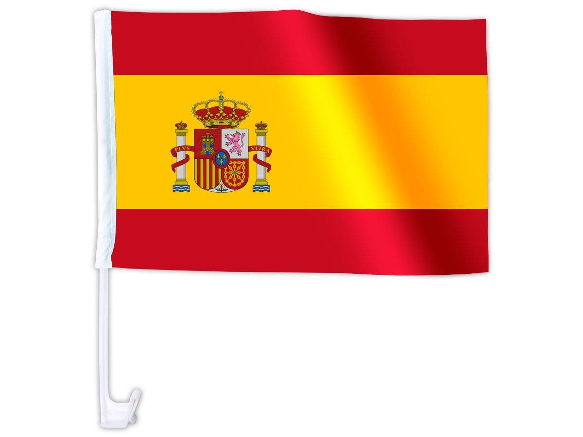 Drapeau avec inscription 1 x 45 x 30 drapeau de lespagne pour voiture drapeaux drapeau pavillon eM 2012 avec fixation
