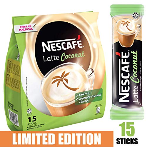 [Limited Edition] Nescafe 3 in 1 Tropical Coconut Coffee Latte - Instant Coffee Packets - Single Serve Flavored Coffee Mix (15 (One Time Only Limited Edition)