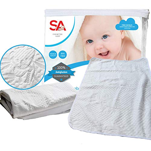 Crib Mattress Protector for Baby.Premium Bamboo 100% Waterproof Cotton is Soft, Breathable & Hypo Allergenic. Repels Bed Bugs & Dust Mites. Breathable for Better, Comfortable Sleep. Bonus Travel Pad