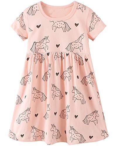 (Little Girls Cotton Dress Short Sleeves Casual Summer Shirt Toddler Girls Summer Dresses Outfit 7t)
