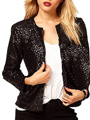 PROMLINK Women Sequin Cardigan Jacket Long Sleeve Bling Sparkle Blazer Coat,Black