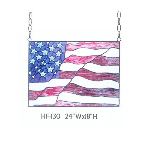 (HF-130 Rural Vintage Tiffany Style Stained Church Art Glass Decorative Stars and Stripes Flag Rectangle Window Hanging Glass Panel Suncatcher, 18