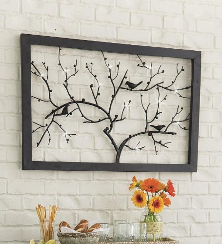 Lighted Bird And Branch Indoor And Outdoor Wall Art