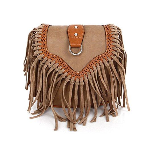 Mujer Europa Y Los Estados Unidos Moda Satchel Borlas Pequeño Paquete Nuevo Mini Bolsas De Hombro Señoras Temperamento De Señoras Bolsa Brown