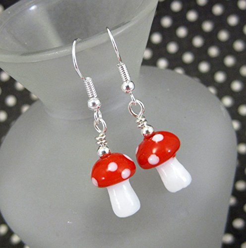 Small Red and White Glass Mushroom Dangle Earrings by (Caterpillar Classic Cap)