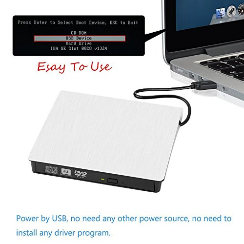 [Updated Version] External CD Drive, Botee USB 3.0 Portable CD DVD +/-RW Drive Slim DVD/CD Rom Rewriter Burner Writer, High Speed Data Transfer for Laptop/Macbook/Desktop/MacOS/Windows10/8/7 (white) by Botee (Image #5)