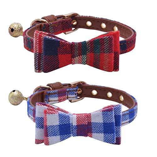 PUPTECK 2 pcs/Set Adjustable Bowtie Small Dog Collar with Bell Charm 10-12