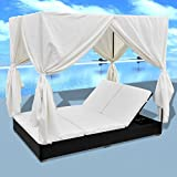 Tidyard 2-Person Sun Lounger with Curtains Patio Chaise Lounges Sunbed Outdoor Sofabed Garden Furniture Weather-Resistant & Waterproof PE Poly Rattan Removable & Washable Cushion Black