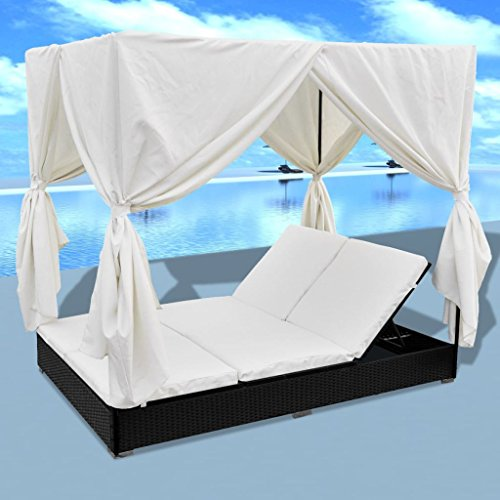 Tidyard 2-Person Sun Lounger with Curtains Patio Chaise Lounges Sunbed Outdoor Sofabed Garden Furniture Weather-Resistant & Waterproof PE Poly Rattan Removable & Washable Cushion Black (Outdoor Bed Lounge Cushions)