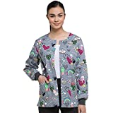 Dickies EDS Signature by Women's Snap Front Warm-up Cat Print Scrub Jacket X-Large Print