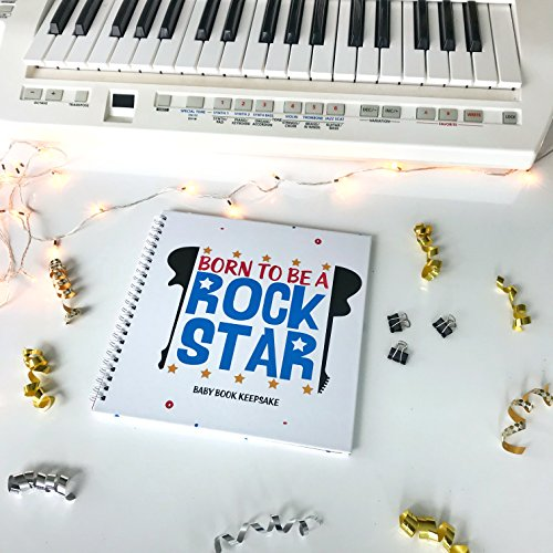 Star Page Kit - BORN TO BE A ROCKSTAR: Baby Book Keepsake! 24 Music Inspired Pages, 8X8 Inches! Blue Cover!