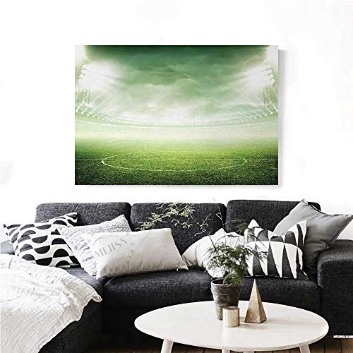 Soccer Canvas Wall Art Illuminated Stadium at Night View Football Arena Activity Grass Playground Picture Print Print Paintings for Home Wall Office Decor 32