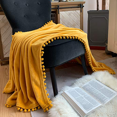 LOMAO Flannel Blanket with Pompom Fringe Lightweight Cozy Bed Blanket Soft Throw Blanket fit Couch Sofa Suitable for All Season (51x63) (Mustard Yellow)