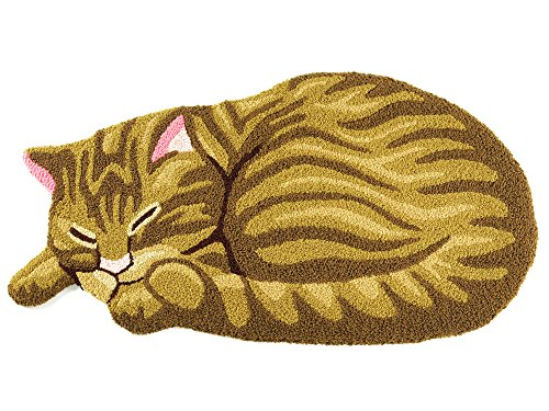 Hughapy Brown Cute Sleeping Cat Shaped Mat Bedroom Area Rug, Christmas Tabby Cat carpet,33.5 by 18 (Brown Tabby Cat)