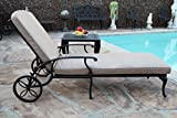 A Pair of 2 Sienna Collection Cast Aluminum Powder Coated Chaise Lounge with Lite Brown Seat Cushions