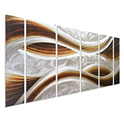 Pure Art Caramel Desire Metal Wall Art, Large Scale Decor in Abstract Ocean Caramel Design, 6-Panels Measures 24 x 65, 3D Wall Art for Modern and Contemporary Decor, Great for Indoors and Outdoor