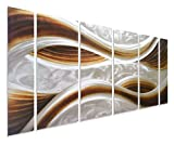 "Pure Art Caramel Desire Metal Wall Art, Large Scale Decor in Abstract Ocean Caramel Design, 6-Panels Measures 24"" x 65"", 3D Wall Art for Modern and Contemporary Decor, Great for Indoors and Outdoor"