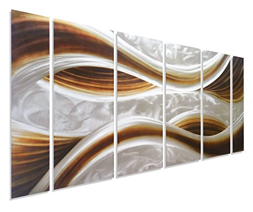 Pure Art Caramel Desire Metal Wall Art, Large Scale Decor in Abstract Ocean Caramel Design, 6-Panels Measures 24