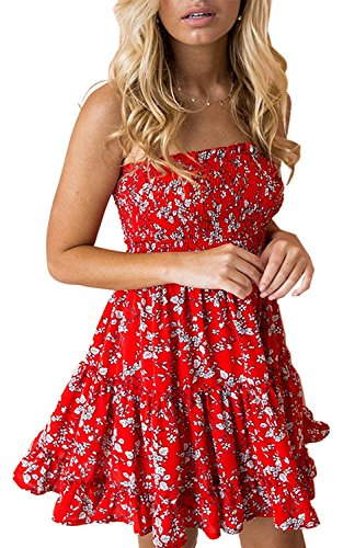 Ophestin Women's Summer Sexy Strapless Floral Print Pleated Flounced Ruffled Dress Red White Large