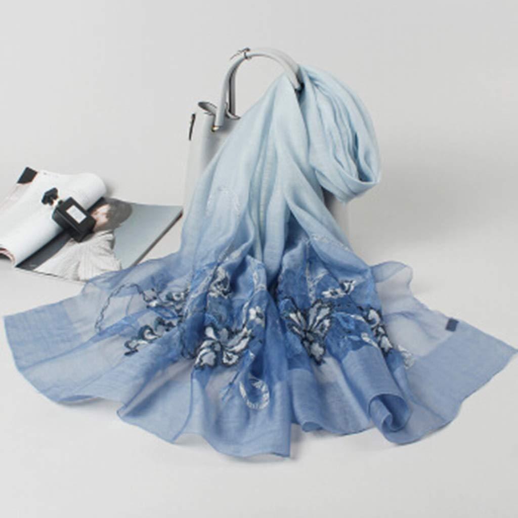 B Silk Wool Scarf, Embroidered Flower Lady Shawl, Silk Scarf Dualuse Scarf (color   D)