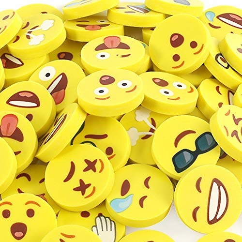 Koogel Emoji Radiergummi, 48 Stück Kinder Smiley Radiergummi Lustige Radiergummis für Kinder Schüler Gastgeschenke Geburtstag
