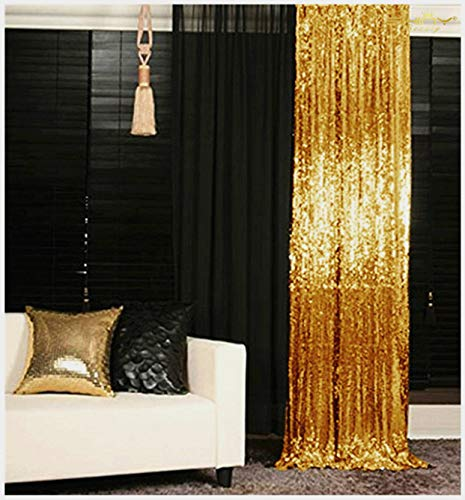 Sequin Curtains 2 Panels 2FTx8FT Gold Glitter Backdrop Gold Sequin Photo Backdrop Backdrop Curtains~M1120 (2 Panels Curtains Gold)