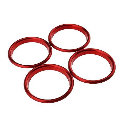 Anillos para marco de aire acondicionado del coche (4 piezas de color rojo de 5