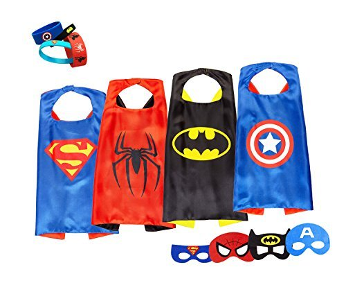 Superhero Capes Costumes For Kids, Girls & Boys | Pretend Play 4 Satin Capes, 1 Glow Bat Cape, 4 Masks & 4 Glow Bracelets | For Halloween, Birthdays Party Favors, (Halloween Party Games For Older Kids)