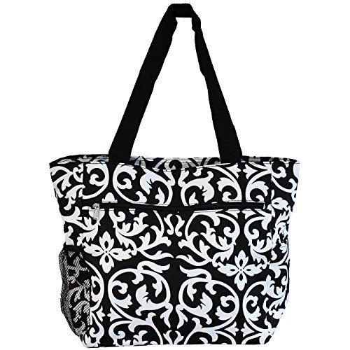 World Traveler 13.5 Inch Beach Bag, Black Trim Damask, One - Beach Warehouse Bag