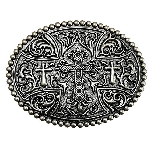 Cross Cool Belt Buckle - LAXPICOL Native American Big Heavy Duty Vintage Celtic Pattern Cross Oval Belt Buckle For Men Grey Tone