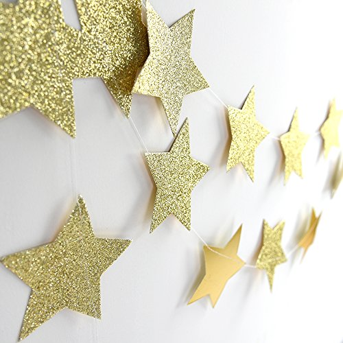 Glitter Gold Sparkle Twikle Star Paper Garland for Wedding Birthday Party Baby Shower Holiday Decoration Table Wall Ceiling Decor (4 inch in Diameter, 6.6 Feet,Pack of 2, FUS-5)