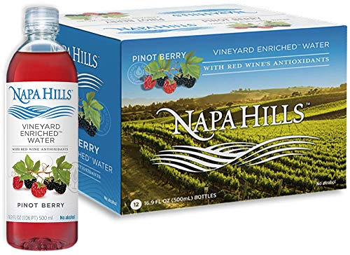 (Napa Hills Flavored Water | 12 Pack | Berry Flavor | Red Wine Antioxidants | Natural Anti-Aging Resveratrol Infused Drink | No Wine Taste, No Alcohol, No Sugar, No Calories)