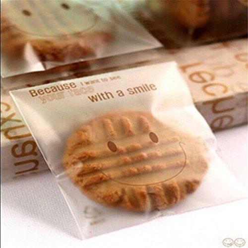 UNKE 100pcs Transparent Pouch Cookie Plastic Bag Biscuit Bag Cellulose Pouch Cellophane Pouch