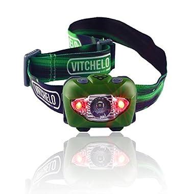 Vitchelo V800 Headlamp Flashlight with Red LED, Green