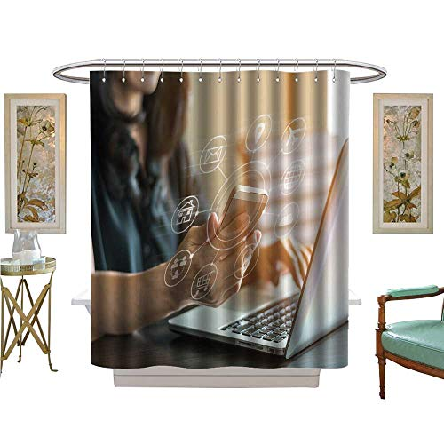 luvoluxhome Shower Curtains with Shower Hooks Internet of THS and Digital Market via Multi Channel Communication Bathroom Decor Set with Hooks W69 x L70