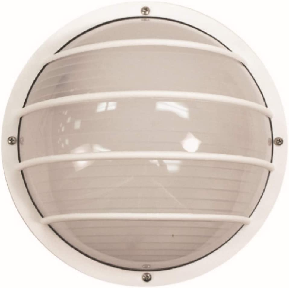 Solus S761WF-LE26W-WH Bulkhead Wall Ceiling Mount Light with 3000K Energy Star LED Lamp, Durable Frosted Polycarbonate Lens, Fade Rust Resistant, UL Listed, 10 H x 10 L x 5.125 W, White