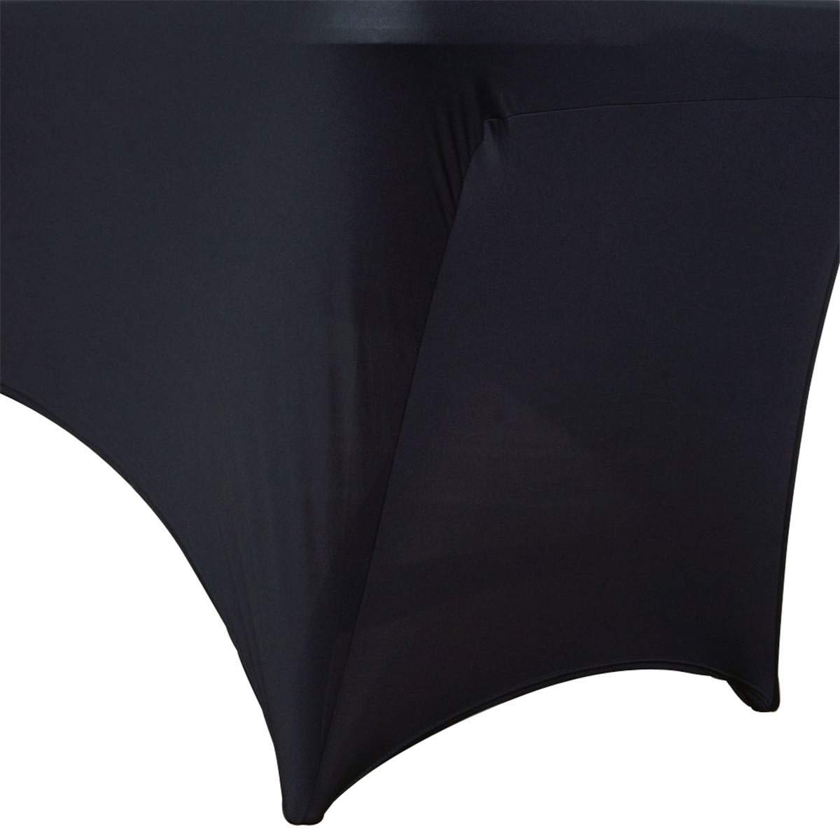 Spandex Table Cover - Table Cloth Rectangular Wedding Long Bar Elastic Stretch Spandex Table Cover Long Bar Hotel Event Party Desk Cloth Black White