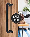 UNWIREDD 13 Inch Child Senior Safe Solid Cast Iron Sliding Barn Door Pull Handle Handrail Grab Bar w/ Screws – Rustic Elegant Design to Match Cabinets Closets Interior Exterior Wood Doors Perfectly