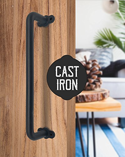UNWIREDD 13 Inch Child Senior Safe Solid Cast Iron Sliding Barn Door Pull Handle Handrail Grab Bar w/ Screws - Rustic Elegant Design to Match Cabinets Closets Interior Exterior Wood Doors Perfectly