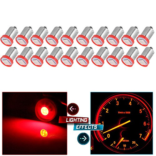 cciyu BA9S 53 57 1895 64111 Instrument Panel Dash Gauge Cluster Ash Tray Light Bulbs Replacement fit for Glove Box License Plate Boat Cabin Light Lamp Blue (10 Pack red)