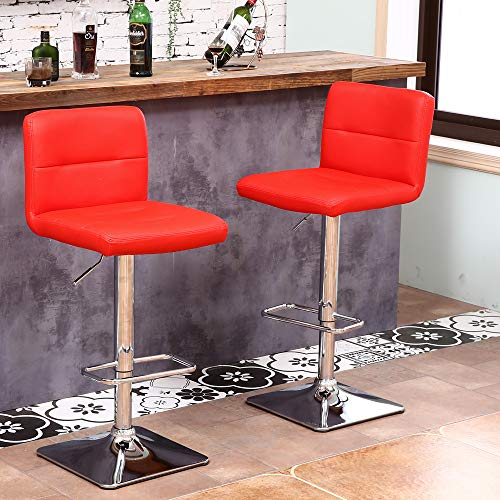 - Modern Swivel Barstools with Chrome Base, Adjustable Counter Height Bar Stool, Red PU Leather Padded with Back, Set of 2, Hold Up to 400lbs