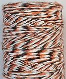 FINCOS 1 Piece Double Color Cotton Twine Thin 4ply Twine (110Yards/spool) DIY Twine 22kinds Color wholesales - (Color: Orange Black White)