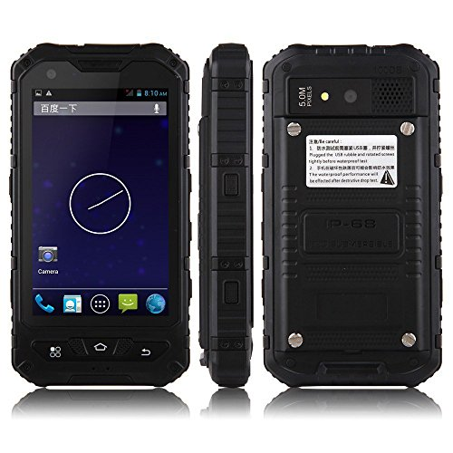 Sudroid A8 4 inches IP68 Rugged Smartphones with Android 4.4.2 Os and Quad Core Dual Sim Supporting NFC (Black)
