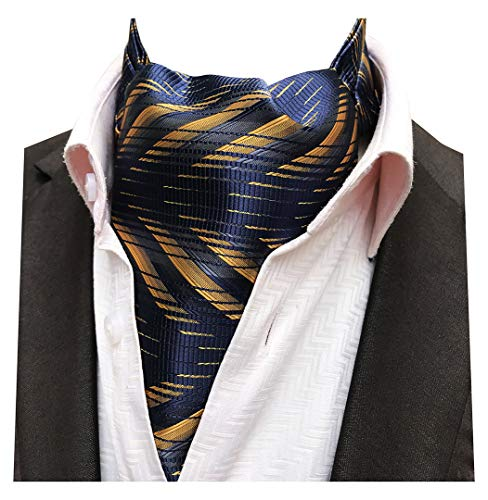 Tie Mens Silk Scarf - MENDENG Men's Gold Navy Paisley Woven Silk Cravat Necktie Scarf Formal Ascot Tie
