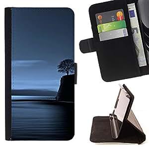 Momo Phone Case / Flip Funda de Cuero Case Cover - Lonely Tree Blue Ocean Noche Profunda - Samsung Galaxy S6 EDGE