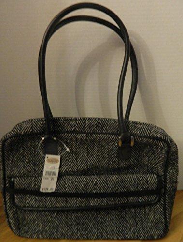 talbots-black-white-herringbone-satchel-zip-top-purse