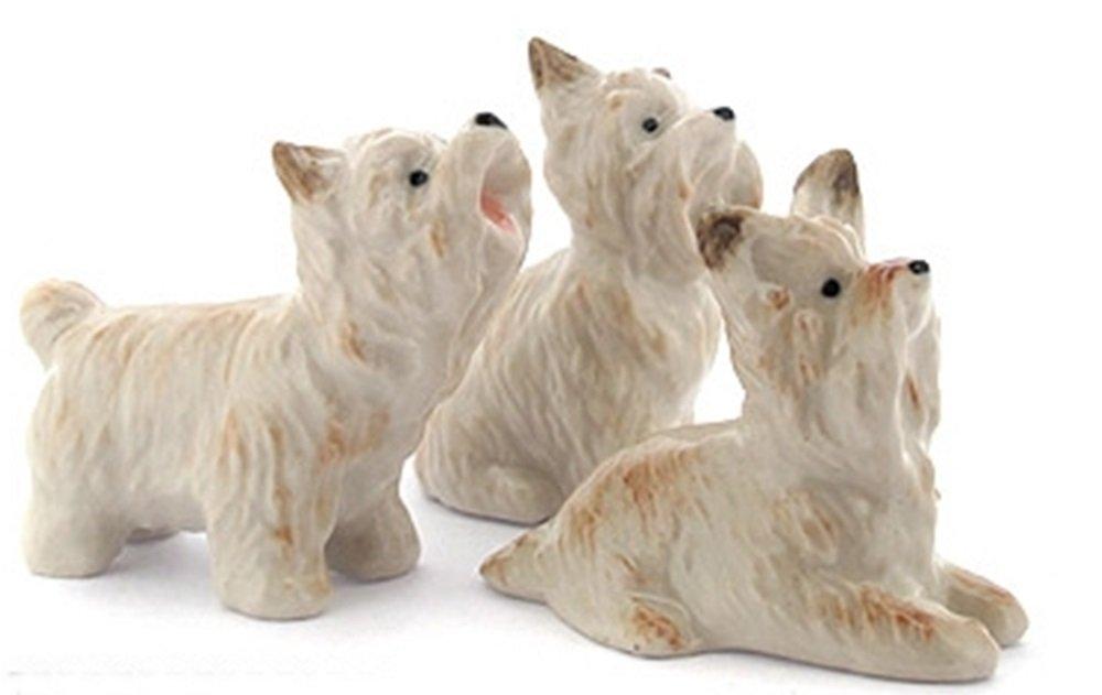Dollhouse Miniatures Ceramic Yorkshire Dog Set FIGURINE Animals Decor by ChangThai Design