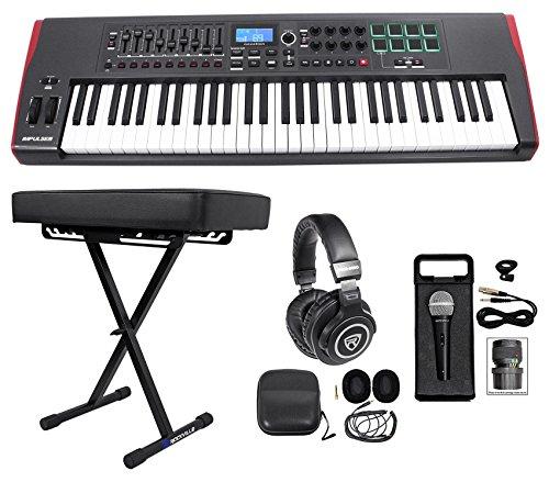 Novation IMPULSE 61-Key MIDI USB Keyboard Controller+Bench+Headphones+Mic+Cable by Novation